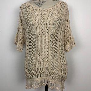 Anthropologie Moth Ivory Open Knit Crochet Top-S